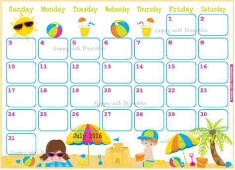 kid calendar template july 2016 calendar template 2017 calendar