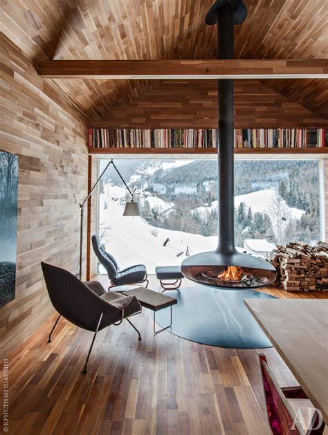 modern cabin interior modern fireplaces rustic refined studio mm architect