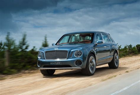 bentley exp 9 f suv goes slightly road on way