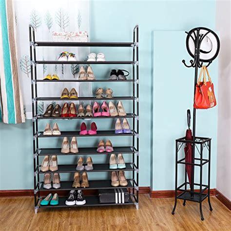 songmics 10 tiers 50 pairs space saving shoe rack storage closet shelf ulsh11h ebay songmics 10 tiers shoe rack 50 pairs non woven fabric shoe tower organizer cabinet black 39 3 8