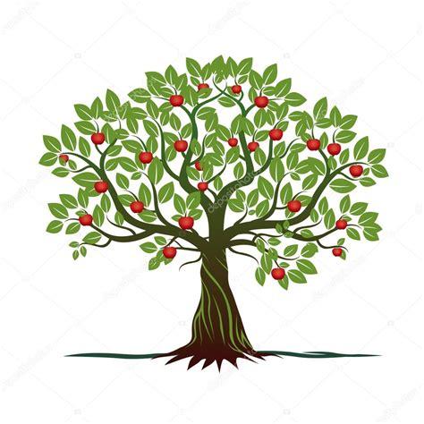 clipart albero vecchio albero con verde foglie radici e mele rosse