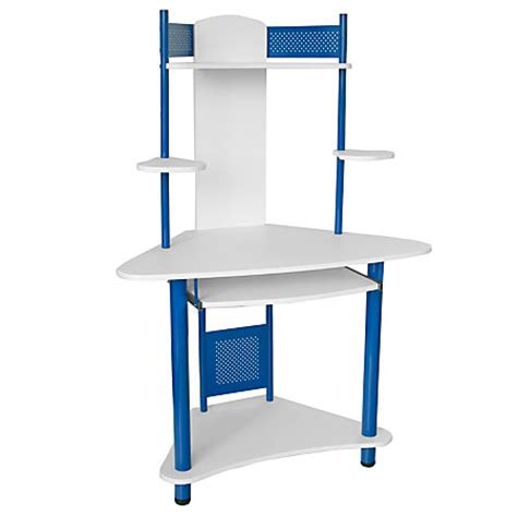 Corner Computer Desk Office Depot Flash Furniture Corner Computer Desk With Hutch 57 H X 39 W X 24 D Blue By Office Depot Officemax