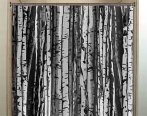 Birch Tree Fabric Curtains Forest Wood Trunk Gray Birch Tree Shower Curtain Bathroom Decor Fabric Bath Window Curtains