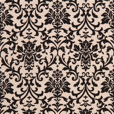 pattern canvas fabric natural color canvas fabric black ornament pattern flower