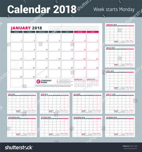calendar 2018 year vector design stationery stock vector calendar template 2018 year business planner stock vector