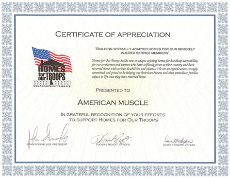 Certificate Giving Letter Homes For Our Troops Charity Gives Thanks To Americanmuscle Americanmuscle