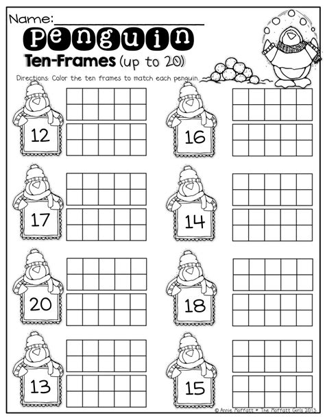 Ten Frame Worksheet by Penguin Ten Frames Up To 20 Kinderland Collaborative