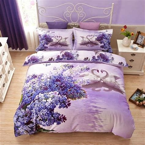 light purple lilac flowers white swan 3d bedding set queen