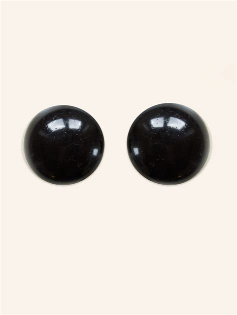 bead button glass black bead button clip on earrings from vivien of
