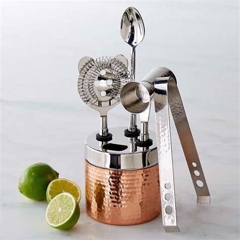 copper hammered bar tool set williams sonoma au