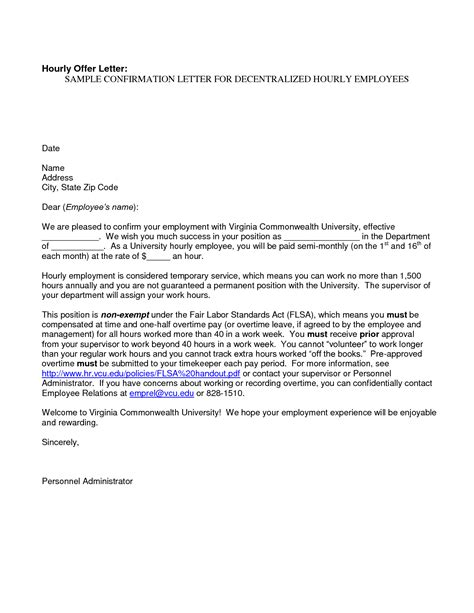 Confirmation Letter Mail To Hr best photos of business letter confirming employment