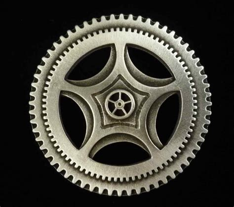 steampunk gear button two inch fine pewter made by