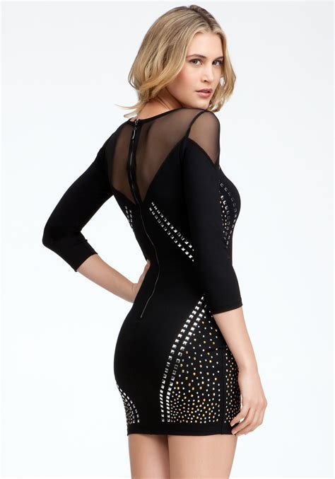 Dress Bebe Studded bebe studded mid sleeve dress in black lyst