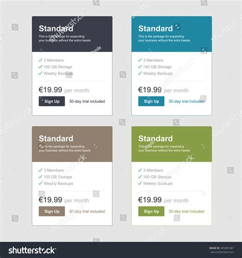 comparison price chart table pricing plan vector template stock vector pricing price table list comparison stock vector