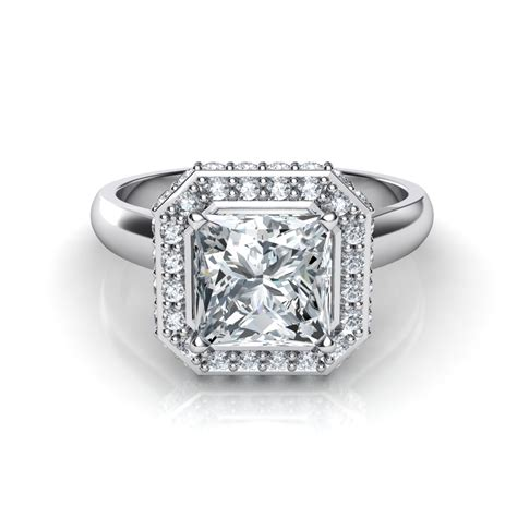 two sided micro pav 233 princess cut halo engagement