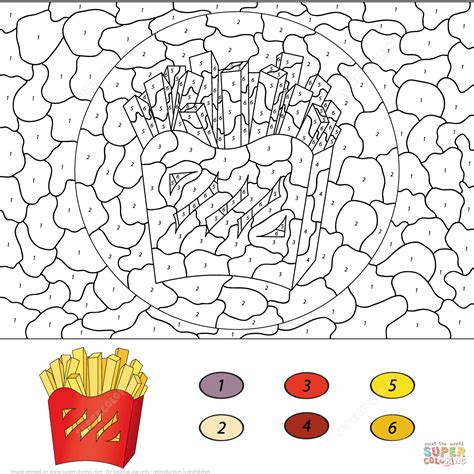 pages by number fries color by number free printable coloring pages