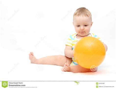 little baby with balloon stock photo image 35387680