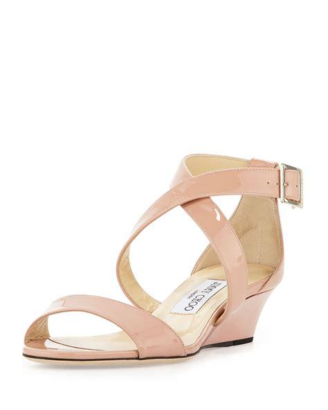 blush wedge sandals jimmy choo chiara demiwedge crisscross sandal blush in