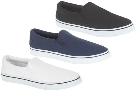 mens boys slip on canvas pumps trainers shoes black navy