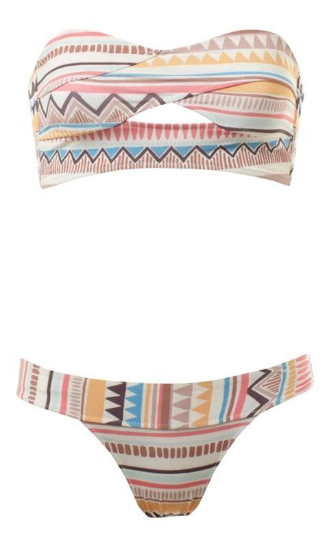 cute pattern swimsuit rare aztec navajo tribal bandeau cut out bikini bralet