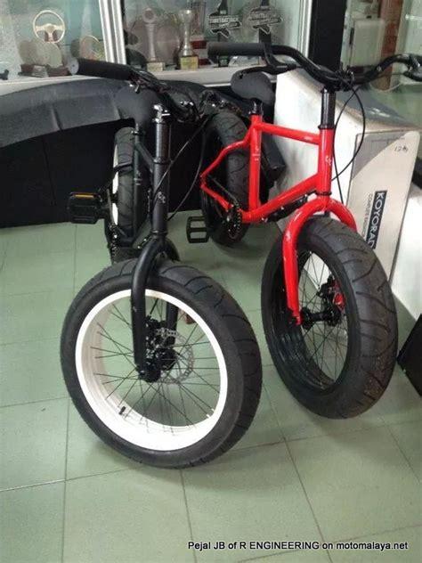 modifikasi sepeda pakai velg  ban motor keren jadi