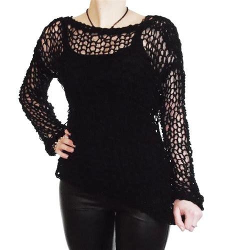 knitting pattern holey jumper ripleys clothing dark purple black string net holey top