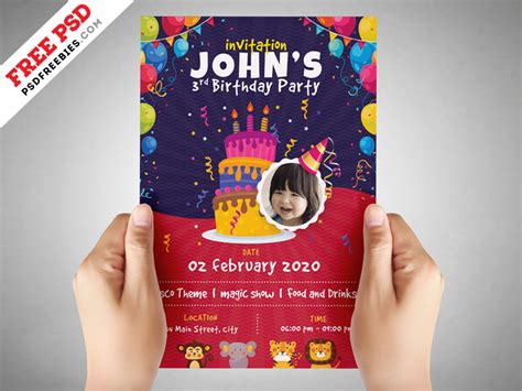 Kids Birthday Party Invitation Flyer Psd Psdfreebies Com Birthday Invitation Template Psd