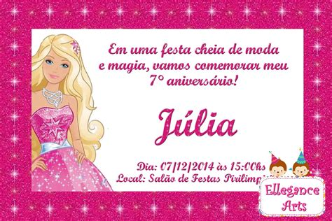 convites personalizado da barbie pictures to pin on pinterest convite digital barbie moda e magia ellegance arts elo7