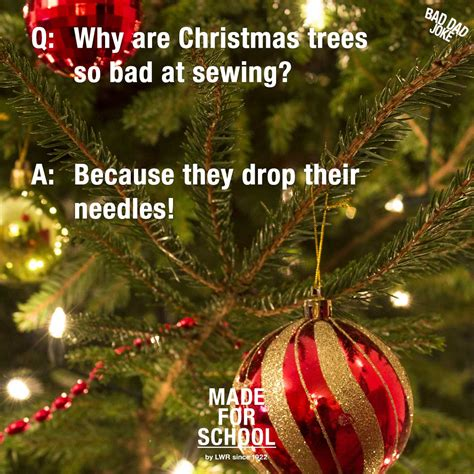 bad dad joke sewing christmas trees made for school