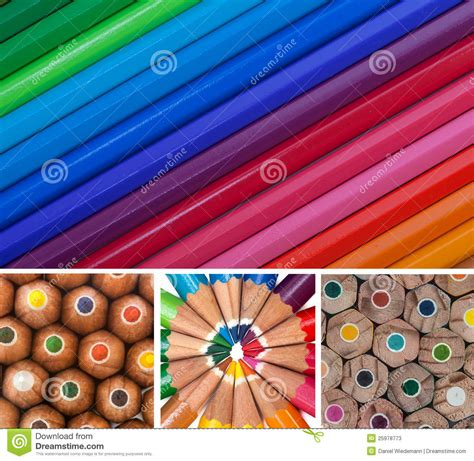 colorful pencils and office supplies collage stock photo colored pencils collage stock photos image 25978773