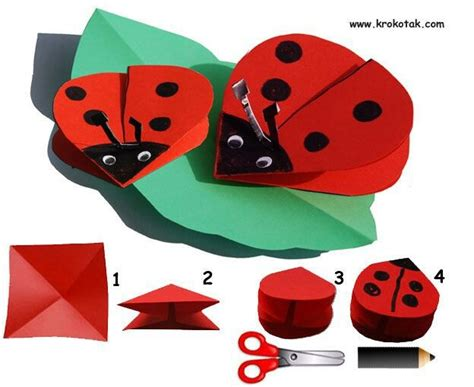 Origami Ladybug - ladybird origami ladybugs