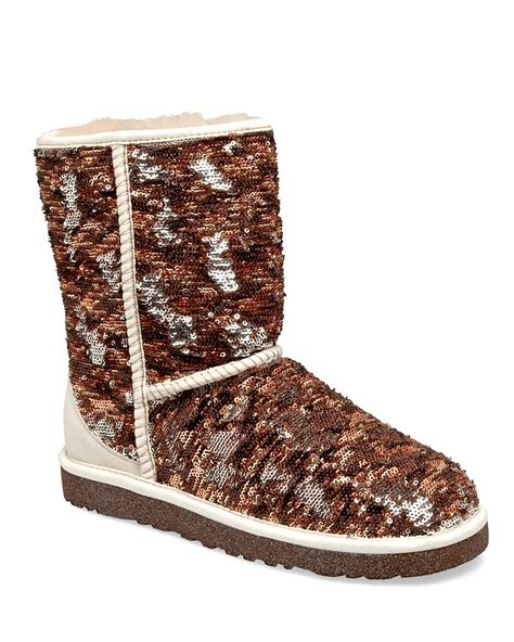 ugg classic sparkles sequin textile and suede boot