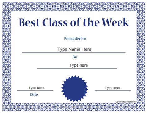 of the week certificate template education certificates certificate template for best