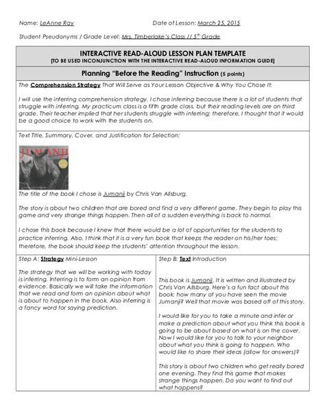 interactive read aloud lesson plan template interactive read aloud lesson plan template images free