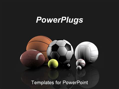 best powerpoint template sports balls over a grey