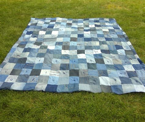 Denim Patchwork Quilt - blue jean denim quilt upcycled denim patchwork quilt