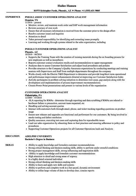 Operations Analyst Resume Exle by Customer Operations Analyst Resume Sles Velvet