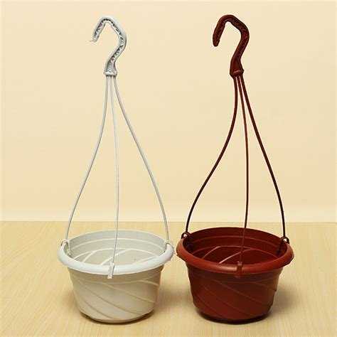 hanging flower pot hooks plastic hanging flower pot gardening plant pot with hook