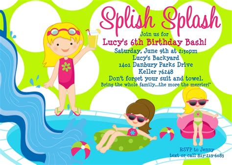 printable invitations pool party free printable birthday pool party invitations drevio