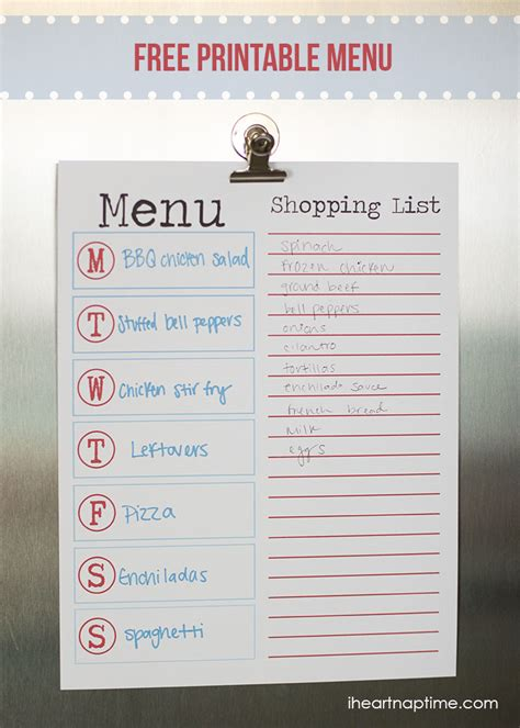free printable menu templates for how to make a menu calendar template 2016