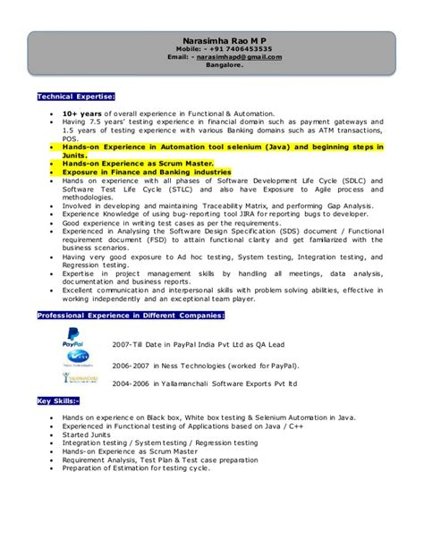 automation testing resume for 2 years in experience 28 images 100 manual testing experience