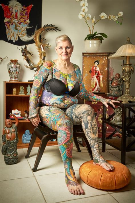 67 year old woman has tattoos all over her body