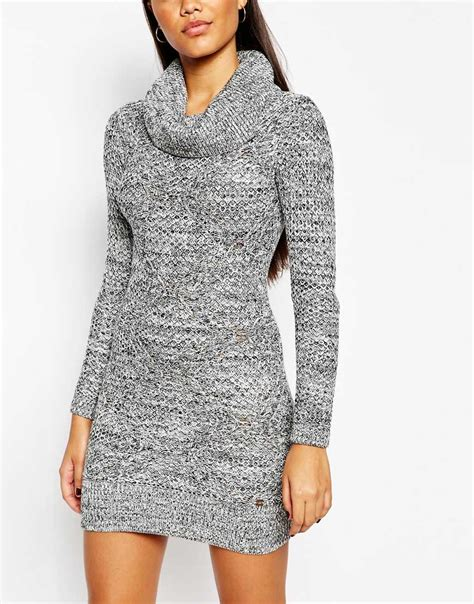 lipsy knitted dress lyst lipsy keegan knitted roll neck