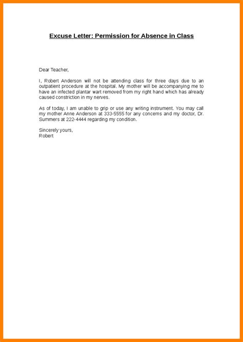 Permission Letter Of School 4 How To Write An Excused Absence Note For School Daily Task Tracker
