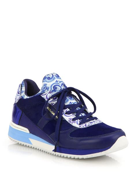 blue and sneakers dolce gabbana tile print leather calf hair sneakers in