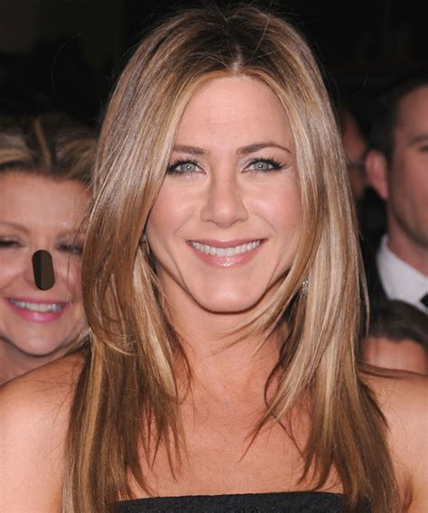 below shoulder with short layers jennifer aniston long straight casual hairstyle light