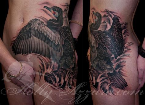 little johns tattoo cormorant on hip stomach by azzara tattoonow
