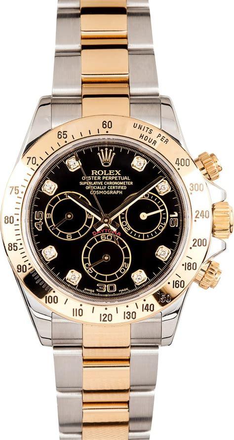 Rolex Black On Two Tone Bracelet A 7750 rolex daytona two tone