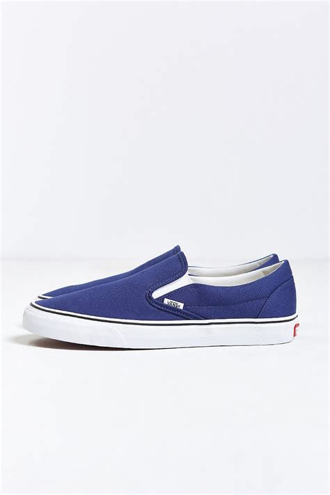 colored vans lyst vans classic color slip on sneaker in blue for