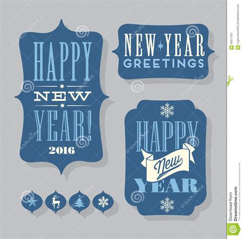happy new year tags happy new year 2016 tags vintage typography design